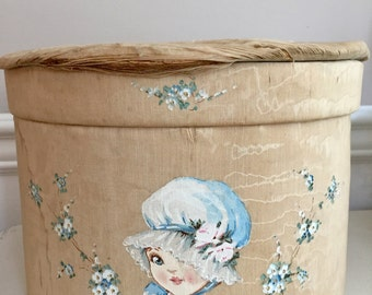 Vintage Child's Hatbox - Hand Painted Blue Bonnet Girl - Shabby Chic Decor
