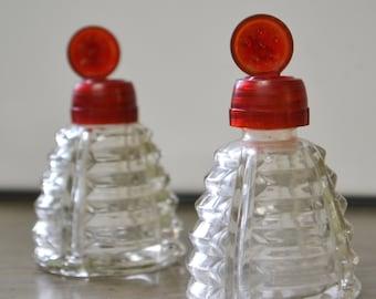 Vintage Salt & Pepper Shaker Set with Red Flip-Tops