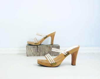 80s Platform Sandal 80s White Sandal Vintage Size 8 Wood Heel Slide Clear Plastic Sandal 80s Vintage Mule High Heel Clog Tan White Sandal 8