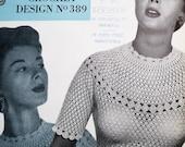 Vintage 1950s Crochet Pattern Women's Short-Sleeved Lacy Bouse Top Sweater Jumper - Coats Crochet Design No. 389  UK 50s original pattern