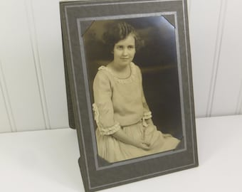 Young Woman in Ruffled Dress with a Twinkle in Her Eye, 1920s Vintage Sepia Portrait Found Photo
