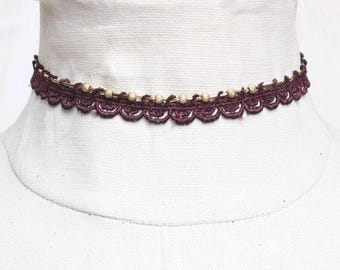 Lace choker necklace - TAIMA - Black, burgundy, teal or white lace