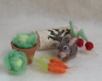 Micro Bunny, Cottontail with Vegetables, 1/12 scale