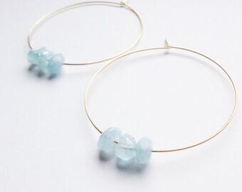 Aquamarine Nugget Gold Hoop Earrings