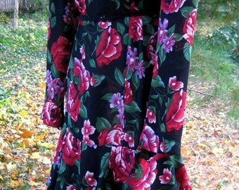 Plus size Spring Red Roses Dress with 3 Tiered RUFFLES bottom in, Red, Green and plum flowers on Black, Union Made in USA, American dress