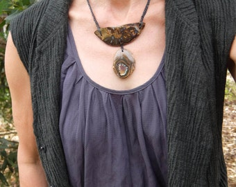 Large Boulder Opal necklace - Tribal statment jewellery - earthy macrame jewellery handmade in Australia - adjustable length