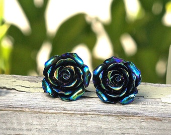 Oil Slick Black Rose Stud Earrings. Titanium Posts.