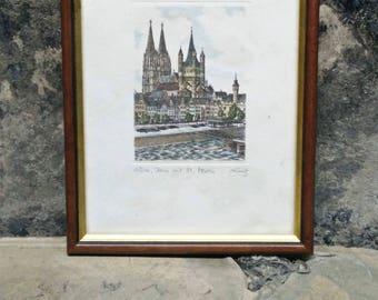 Original Vintage Etching. Signed Colour Etching. St. Martin. Original Radierung Print. Vintage frame. Wooden Gold Edged Frame. No. 506 Print