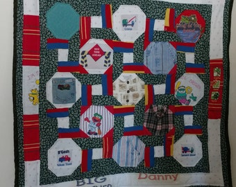 Memory Quilt, made from clothing