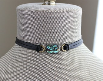 Abalone Shell Leather Choker