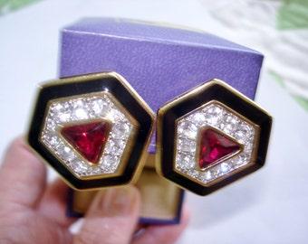 S.A.L. Black Clear Red  Rhinestone Earrings Gold Tone