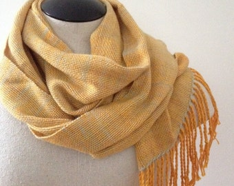 Handwoven Merino Wool Scarf / mango / gold / yellow/ orange / blue / silver / autumn / winter / spring / lightweight / long / boho / unique
