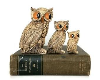 Vintage Trio Ceramic Owls // 1970s Pottery // Owl Figurines // Woodland Forest Decor // Collectible Owls // Owl Set // Retro Ceramics