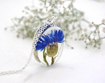 Cornflower Resin Pendant. Botanical pendant, Botanical Jewellery, Blue flower necklace. Real flower necklace. By OCEAN PETALS