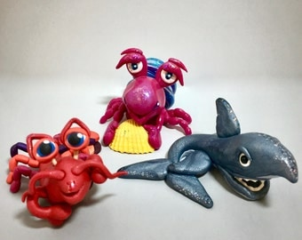 Polymer Clay OCEAN Figurines: Hermit Crab, Shark, & Lobster