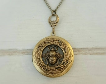 Bee Locket Necklace - antique brass locket.