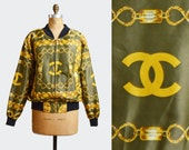 RESERVED for Tammy...Vintage 90s Baroque CC Logo Chain Print SATIN Bomber Jacket / 1990s Retro Windbreaker Hipster M L