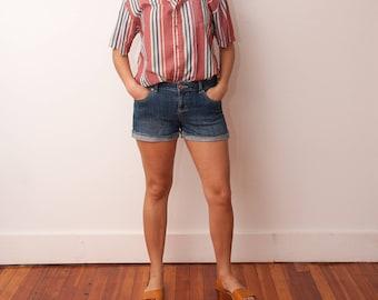 Vintage Striped Shirt - Unisex Striped Button Down - Vtg Vertical Striped Nautical Shirt - Preppy Fashion - 80s Mens Shirt - Size Medium