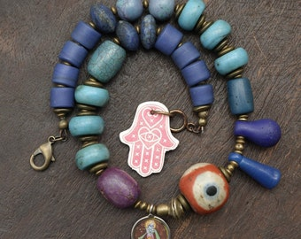 Krishna Blues - Blue Beads Statement Choker