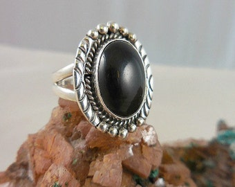 Native American Black Onyx Sterling Silver Rings