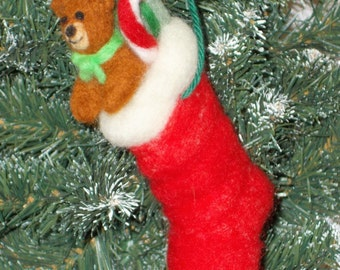 Needle felt Christmas stocking ornament with teddy bear