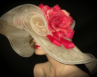 CORAL PINK & IVORY Kentucky Derby Hat, Extra Wide Brim Ivory Sinamay Derby Hat, Coral Pink Rose Derby Hat, Garden Party Hat, Tea Party Hat