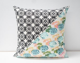 Patchwork Pillow Cover, 20x20, Black and cream  / teal floral