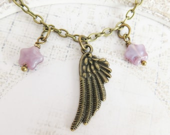 Purple choker necklace, chokers, angel wing jewelry, bohemian short necklace, boho chic necklace, star jewelry, gift for her