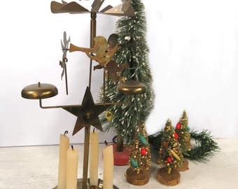Vintage Brass Angel Chimes in Box, Musical Wind Chime Candle Holder, Christmas Home Decor