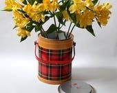 Vintage Skotch Kooler 1 Gallon Size Ice Bucket Cooler The Classic 1950s Skotch Kooler / Vintage Red Black Plaid Picnic Bucket Flower Vase