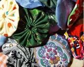 100 fabric Yo Yos Mixed prints, 2 inch size, Suffolk flower puff