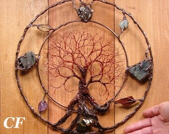 Wire metal Tree sculpture wall decor, Circle of Life Passage Grove, golden Pyrite, Labradorite, Aquamarine, Citrine, Amethyst, handmade art