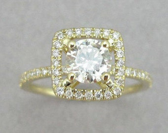 Diamond Engagement Ring, Halo Diamond Engagement Ring, Diamond Cushion Engagement Ring, Halo Engagement Ring, Gold Cushion Diamond Ring