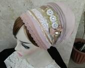 studded bow,headband tichel,applique hair headband,unique haarband,tichel headband,headpiece