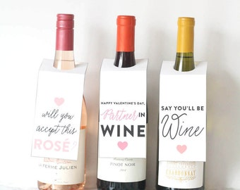Printable Decor, Wine Tags, Holiday Wine Gift, Valentine's Day, Bachelor Wine Label, Pun Wine Label, Pink And Red Heart Label, Gift For Her