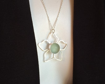 Flower Necklace Beach Marble Pendant Fine Silver Argentium Sterling Silver Jewelry by Ocean Edge Designs