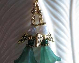 Irish Angel Earrings Green Dress and Green Glass Bead, Glass Pearl with Gold Wings St Patricks Day