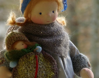 """Antonia and Claudine OOAK doll by Atelier Lavendel 16"""" Waldorf Inspired Doll Cloth Doll ECO friendly"""