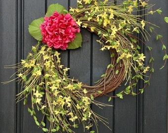 Spring Wreath- Summer Wreath- Grapevine Door Wreath Decor-Yellow-Pink-Wispy Branches Floral Door Decoration Indoor Outdoor Decor