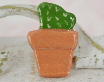 Vintage Ceramic Brooch of a Cactus in a Flower Pot