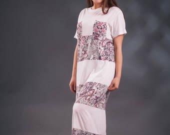 Long white dress, t-shirt dress, floral print dress, long summer dress, fine jersey dress, recycled dress, handmade dress, original dress