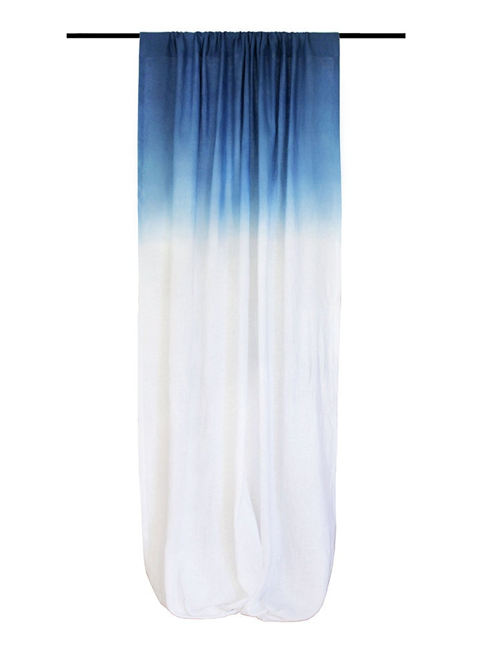 Natural Curtain Ombre Blue And White Linen By Lovelyhomeidea