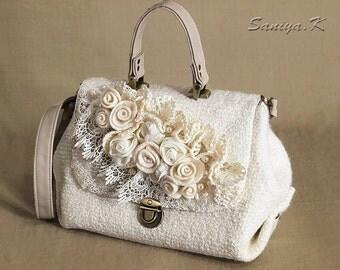 "Boho Eco Handbag Handmade ""Kristall"" (felted boho-chic eco-friendly handbags buy)"