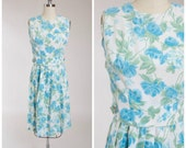 Vintage 1950s Dress • Cold Rain • Floral Blue Acetate Late 50s Day Dress Size Small