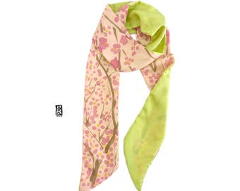 Long Skinny Scarf, Pastel Pink, Chartreuse Green Plum Blossoms, Spring Scarves, Women Present Scarf, Hand Painted Scarf Silk, 5x70 inch