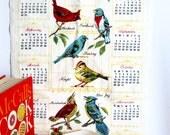 Vintage Calendar Tea Towel 1972 Colorful Birds Spring Summer Kitsch Kitschen Decor