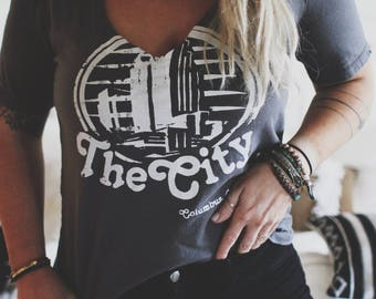 The Retro City Cut Out Neckline Tee, Vintage Inspired Tee, Grunge Tee, Grunge Shirt, Destructed Women's Tee, Distressed Tee, Slouchy tee