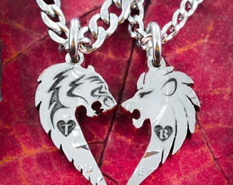Lion and Tiger Couples Necklaces for 2, Custom initials Engraved in Hearts, Hand Cut Coin, Relationship Jewelry