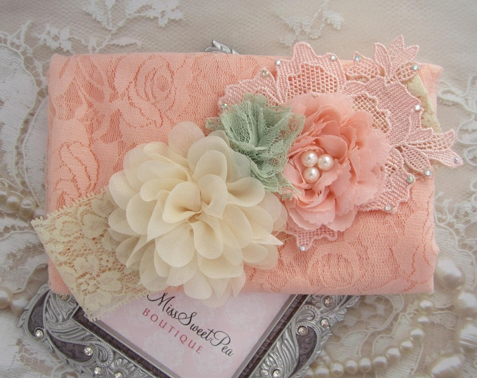 """Featured listing image: Peach Stretch Lace Swaddle Wrap AND/OR Cluster Headband, soft & luxurious, 16x58"""" laying flat, newborn photo shoots by Lil Miss Sweet Pea"""