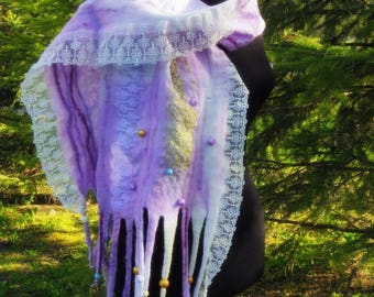 "SALE! ""Cynthia"", wool and lace wet felted scarf with beads and fleece locks, one-of-a-kind unique hand felted wool garments, art to wear"